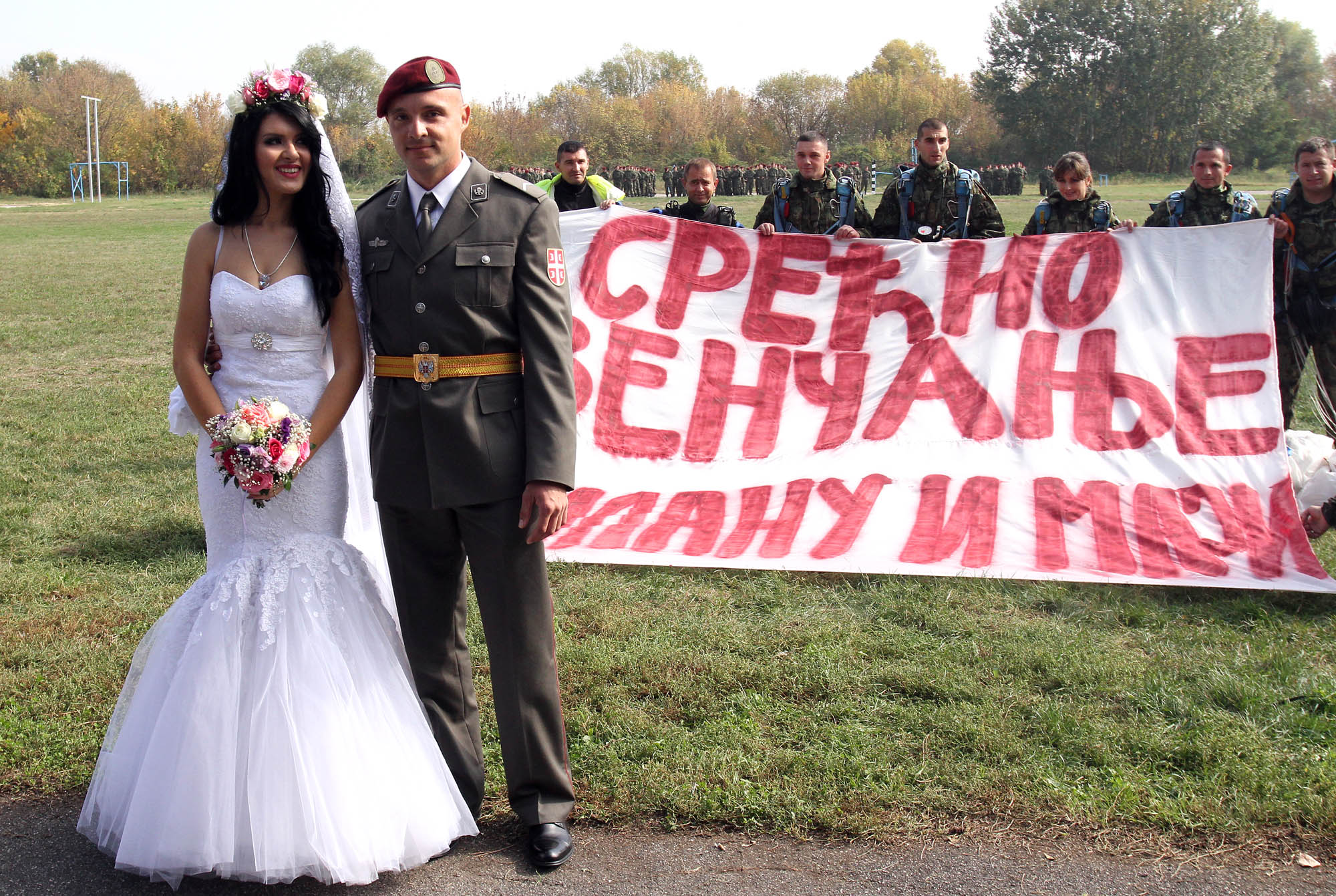 Wedding before the line of the 63rd Parachute Battalion