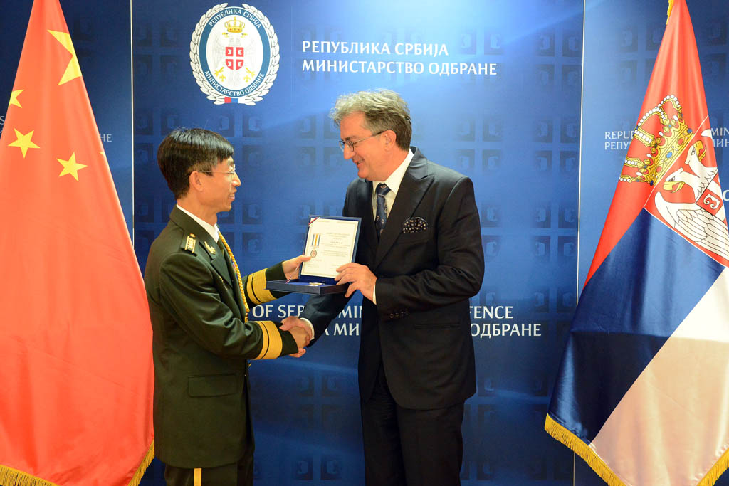 Minister Rodic presents Defence Attaché of the People s Republic of China with Military Memorial Medal