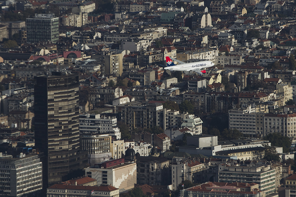 Test Flight of Air Serbia Aircraft escorted by military aircraft