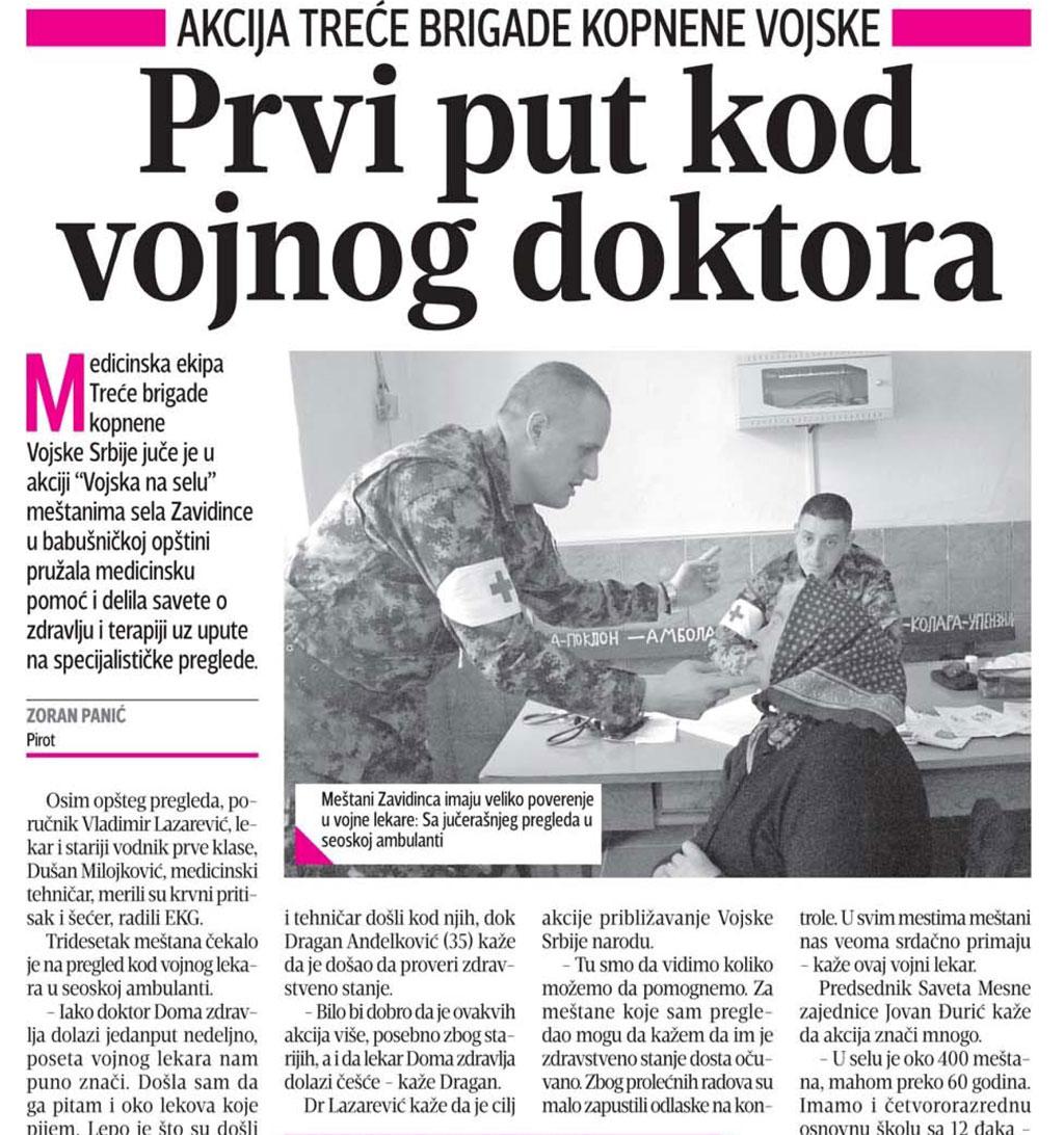 Prvi put kod vojnog doktora