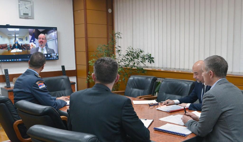 Minister Stefanović talks to U S Deputy Assistant Secretary of Defense Laura Cooper