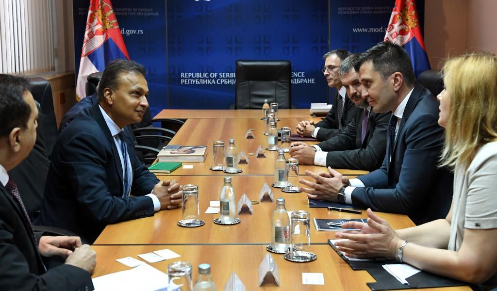 Састанак министра одбране са представницима компаније Reliance Group