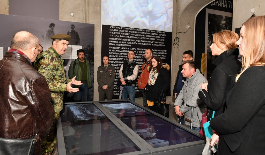 Professors and students of Higher Education Institution for applied studies for Entrepreneurship visit exhibition Defence 78