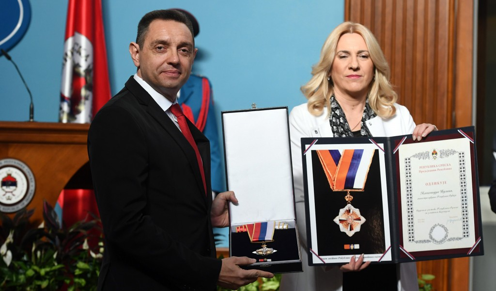 Republika Srpska decorated Minister Vulin with the Order of the Flag with a gold wreath