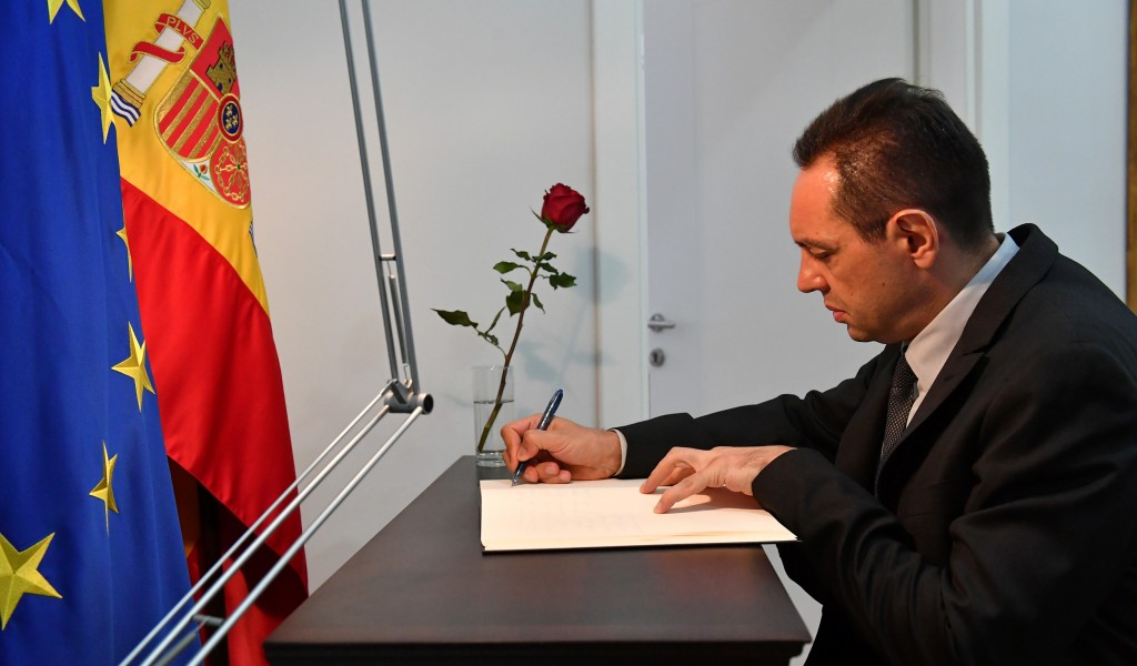 Minister of Defence signs Book of Condolences at the Spanish Embassy