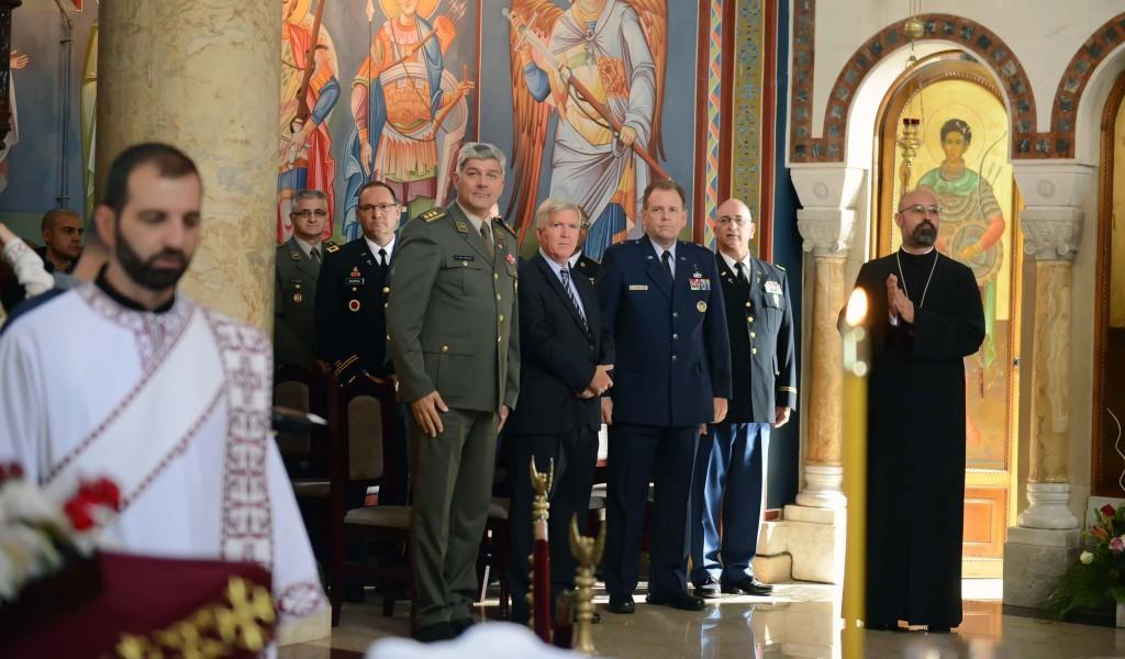 Delegacija verske službe Nacionalne garde Ohaja na liturgiji u Lazarevcu