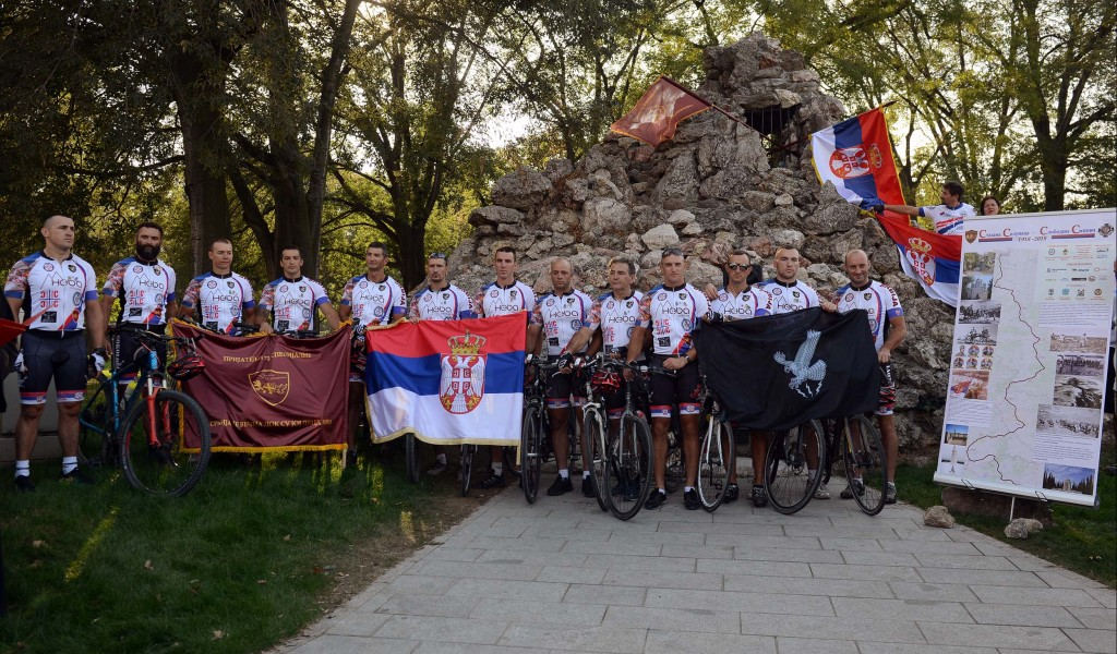 """Cyclists of """"Friends of the 72nd Special Brigade"""" Association mark the century of breakthrough of the Salonika Front returning to Belgrade"""