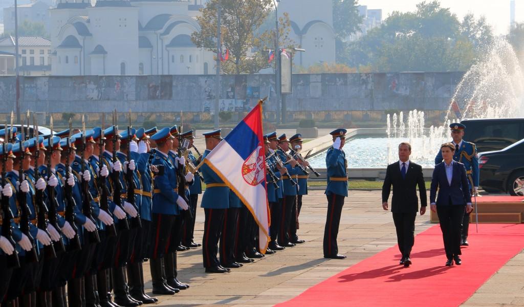 Doček premijera Ruske Federacije ispred Palate Srbija