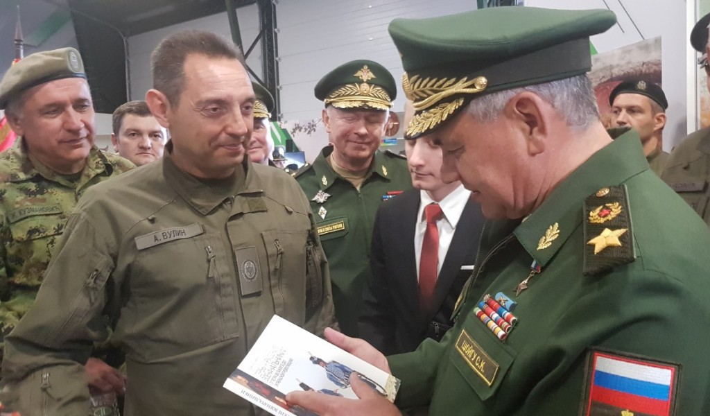 Ministers Vulin and Shoygu at the closing of the Army Games International in Russia