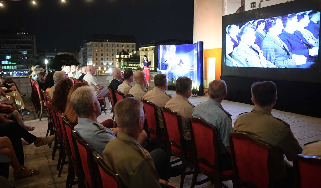 First release of videos promoting voluntary military service on the roof terrace of the Central Military Club