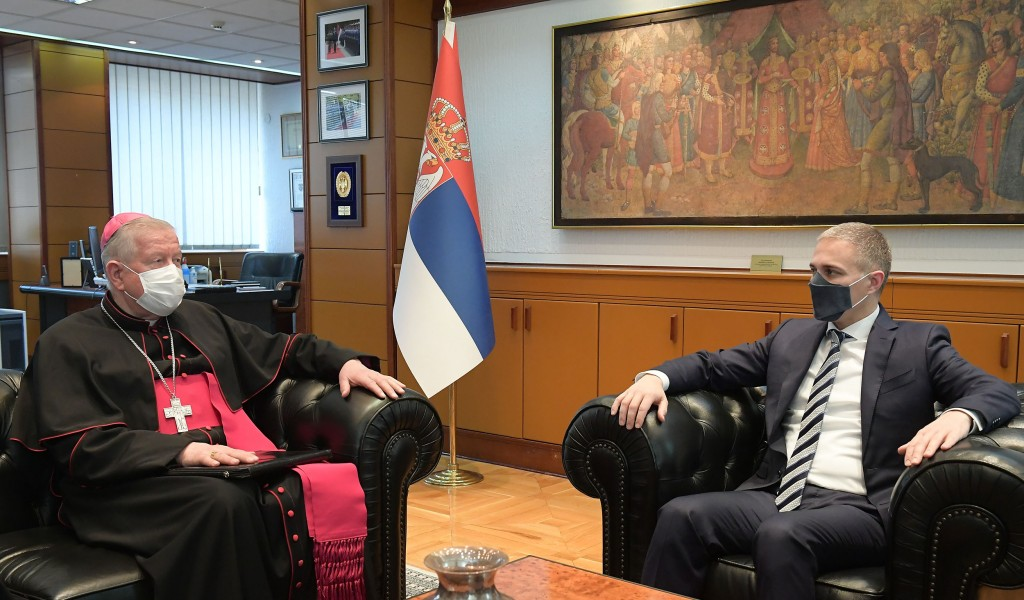 Minister Stefanović meets with Archbishop of Belgrade Mr Hočevar