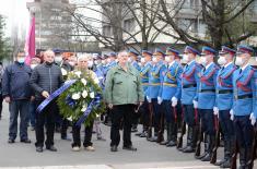 Министар Стефановић положио венац код Споменика пилотима браниоцима Београда
