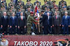 The President of the Republic and the Supreme Commander of the Serbian Armed Forces handed over military flags to the 72nd Special Operations Brigade and the 63rd Parachute Brigade
