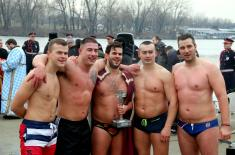 Members of the Serbian Armed Forces swam for the Holy Epiphany Cross