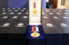 Military commemorative medals presented to members of the 250th AD Missile Brigade