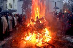 Yule Log Burnt in front of the Saint Sava Church